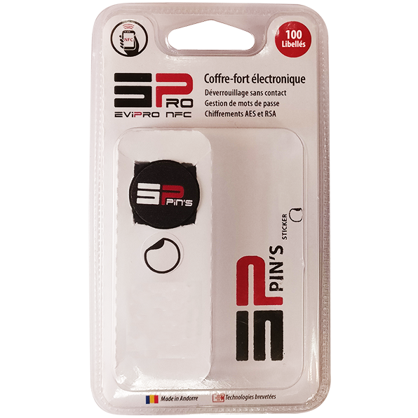 Coffre fort electronique EviPro pins nfc sticker blister 100L recto